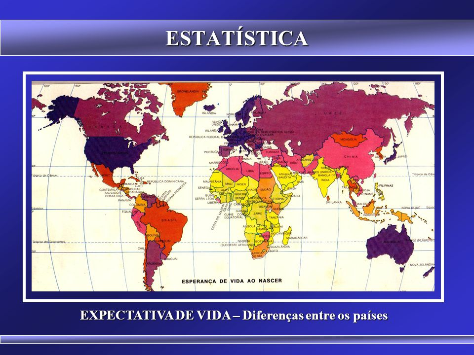 ESTATÍSTICA Indicadores Sociais Diferentes 1 o Mundo 3 o Mundo Alta Expectativa de Vida Boas Condições Sanitárias Hábitos de Consumo Assistência em Sa