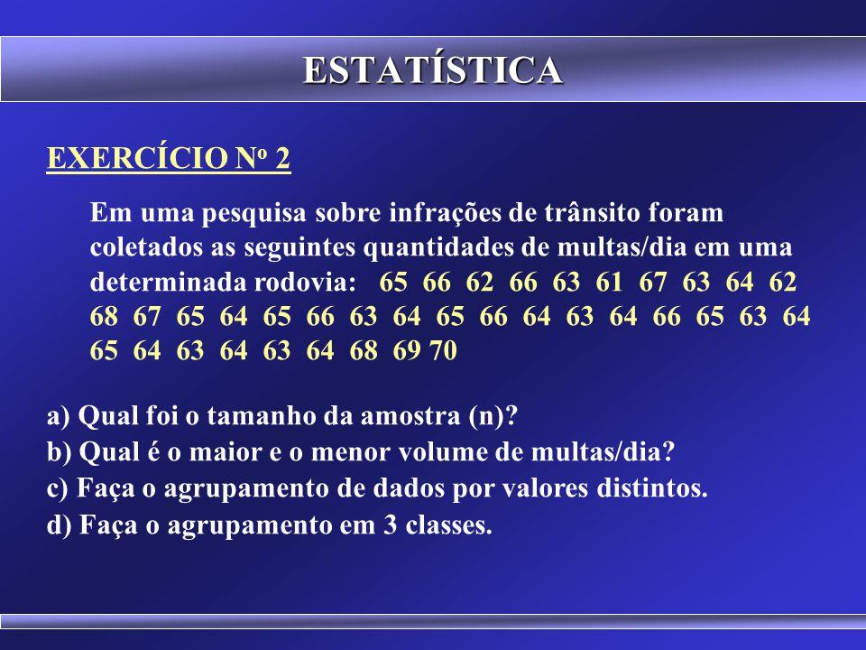 ESTATÍSTICA Trazem informações que expressam a tendência central e a dispersão dos dados. Tendência Central: Média ( x ), Mediana ( Md ), Moda ( Mo )