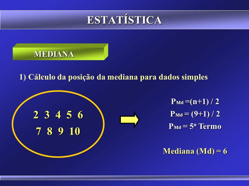 ESTATÍSTICA É o valor que ocupa a posição central de um conjunto de dados ordenados. Para um número par de termos a mediana é obtida através da média