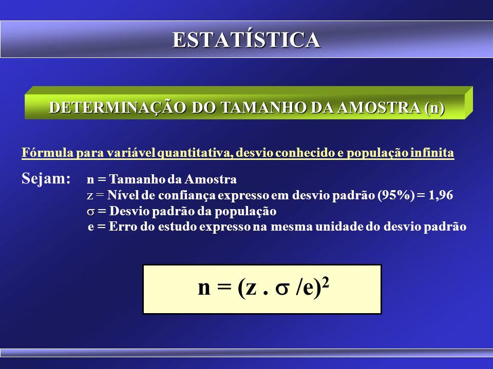 ESTATÍSTICA Fórmula Genérica Sejam: n 0 = Primeira aproximação para o tamanho da amostra e = Erro Amostral Tolerável (exemplo: 0,05) n = Tamanho da Am