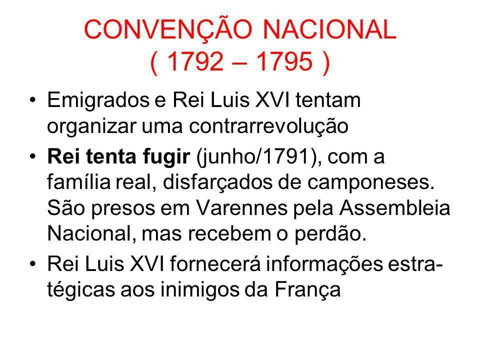 CONVENÇÃO NACIONAL ( 1792 – 1795 ) •9 de agosto de 1792 – Guarda Nacional + levante popular = invasão do palácio de Tulherias e prisão da família real.