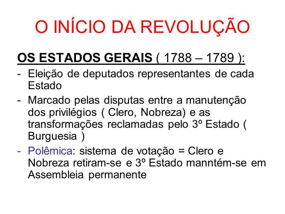 A MONARQUIA CONSTITUCIONAL (1789 -1792 ) •Formação da Assembleia Nacional Constituinte em 9 de julho (1789-1791) •Caracterizada pela conciliação entre os interesses da alta burguesia e da nobreza progressista (togada).
