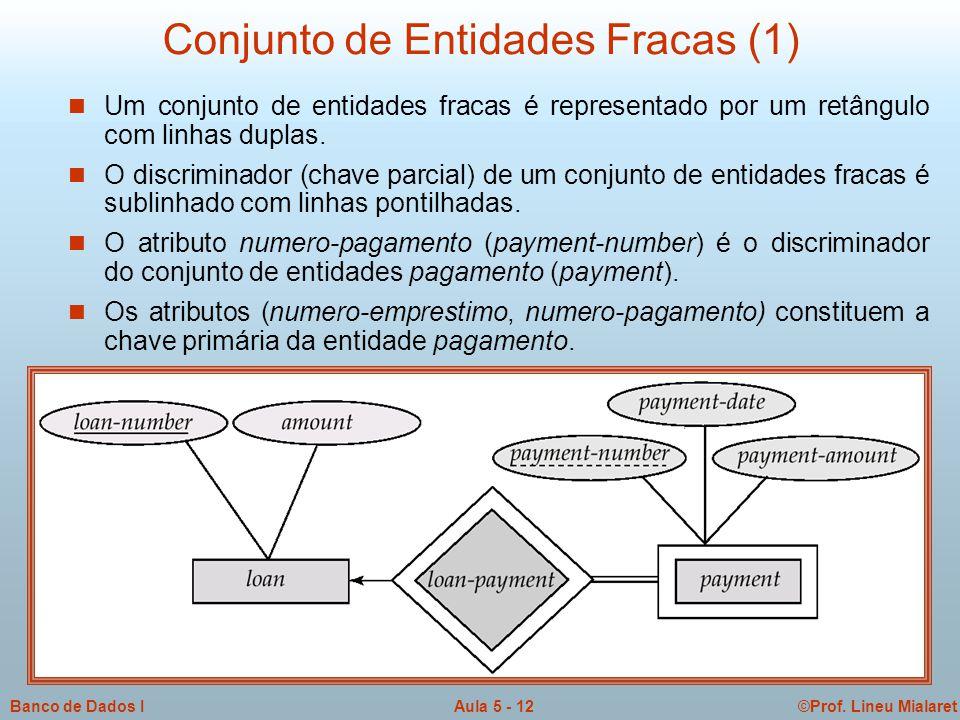 ©Prof. Lineu MialaretAula 5 - 12Banco de Dados I Conjunto de Entidades Fracas (1)  Um conjunto de entidades fracas é representado por um retângulo co