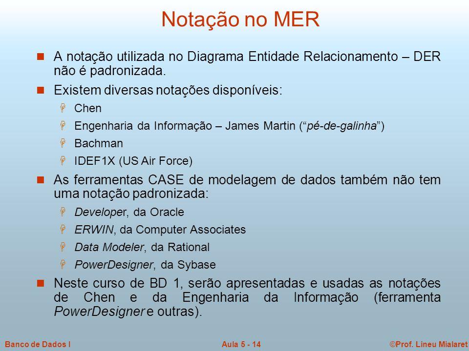 ©Prof. Lineu MialaretAula 5 - 14Banco de Dados I Notação no MER  A notação utilizada no Diagrama Entidade Relacionamento – DER não é padronizada.  E