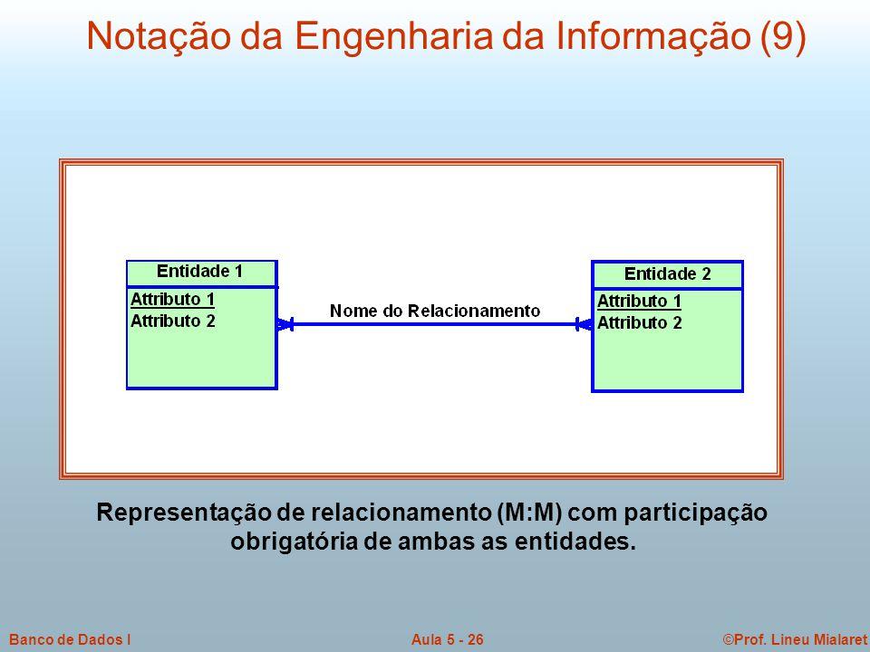 ©Prof. Lineu MialaretAula 5 - 26Banco de Dados I Notação da Engenharia da Informação (9) Representação de relacionamento (M:M) com participação obriga