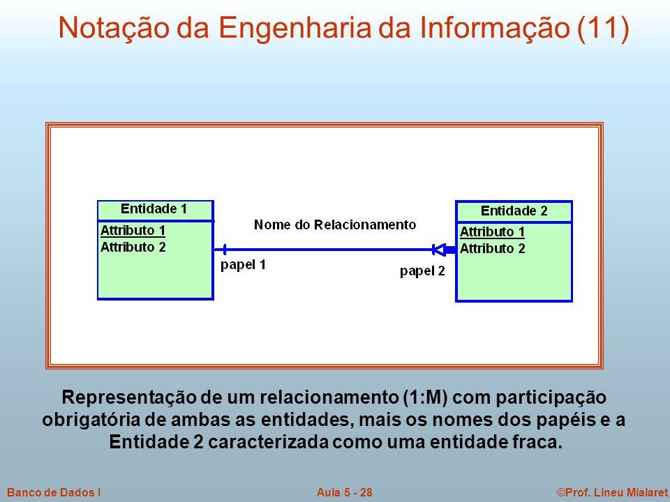 ©Prof. Lineu MialaretAula 5 - 28Banco de Dados I Notação da Engenharia da Informação (11) Representação de um relacionamento (1:M) com participação ob