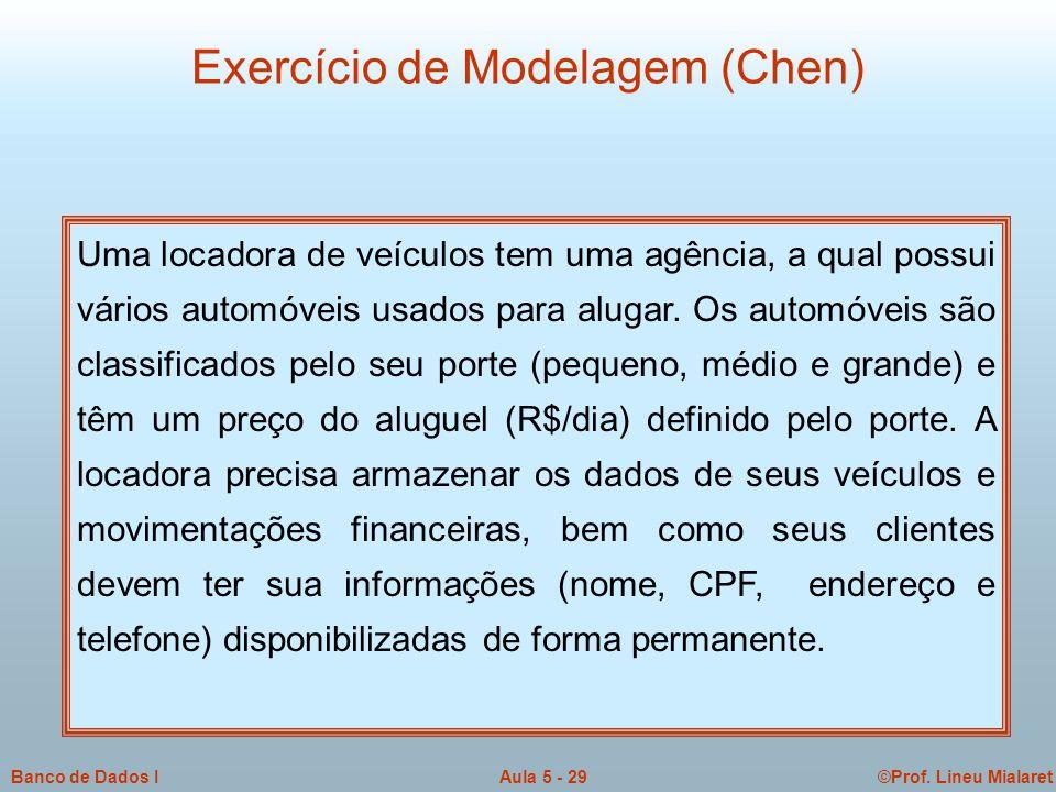 ©Prof. Lineu MialaretAula 5 - 29Banco de Dados I Exercício de Modelagem (Chen) Uma locadora de veículos tem uma agência, a qual possui vários automóve