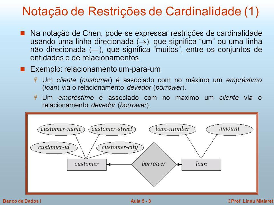 ©Prof. Lineu MialaretAula 5 - 8Banco de Dados I Notação de Restrições de Cardinalidade (1)  Na notação de Chen, pode-se expressar restrições de cardi