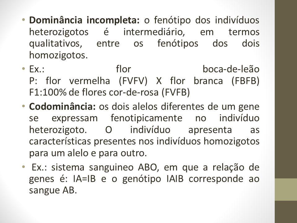 • Dominância incompleta: o fenótipo dos indivíduos heterozigotos é intermediário, em termos qualitativos, entre os fenótipos dos dois homozigotos.