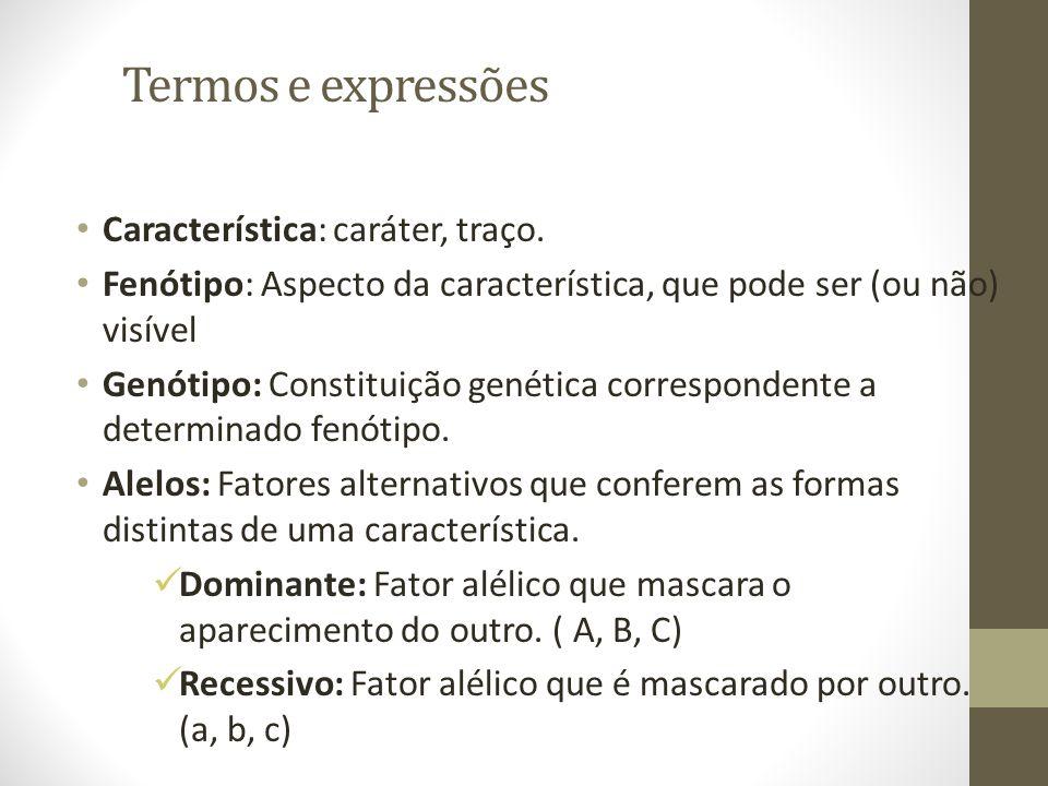 Termos e expressões • Característica: caráter, traço. • Fenótipo: Aspecto da característica, que pode ser (ou não) visível • Genótipo: Constituição ge