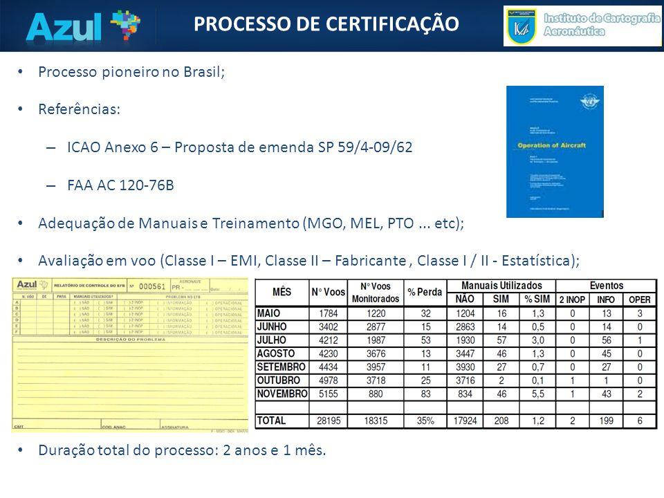 PROCESSO DE CERTIFICAÇÃO • Processo pioneiro no Brasil; • Referências: – ICAO Anexo 6 – Proposta de emenda SP 59/4-09/62 – FAA AC 120-76B • Adequação de Manuais e Treinamento (MGO, MEL, PTO...