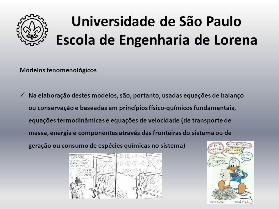 Universidade de São Paulo Escola de Engenharia de Lorena Modelos fenomenológicos  Na elaboração destes modelos, são, portanto, usadas equações de bal