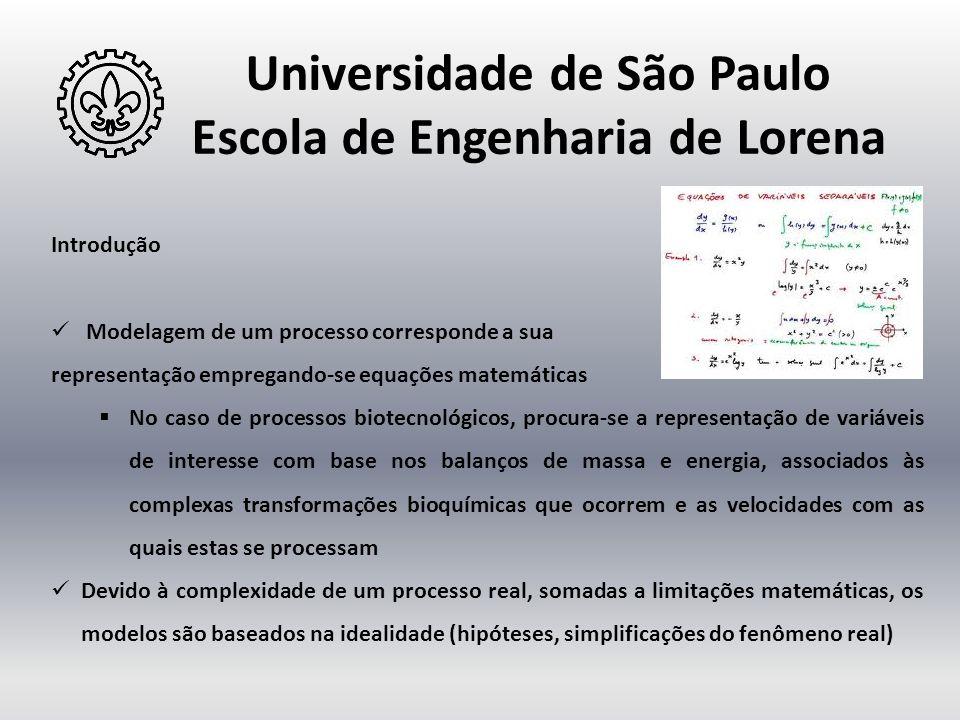Universidade de São Paulo Escola de Engenharia de Lorena Introdução  Modelagem de um processo corresponde a sua representação empregando-se equações