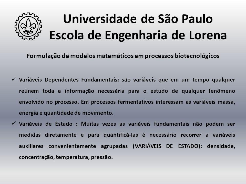 Universidade de São Paulo Escola de Engenharia de Lorena Formulação de modelos matemáticos em processos biotecnológicos  Variáveis Dependentes Fundam