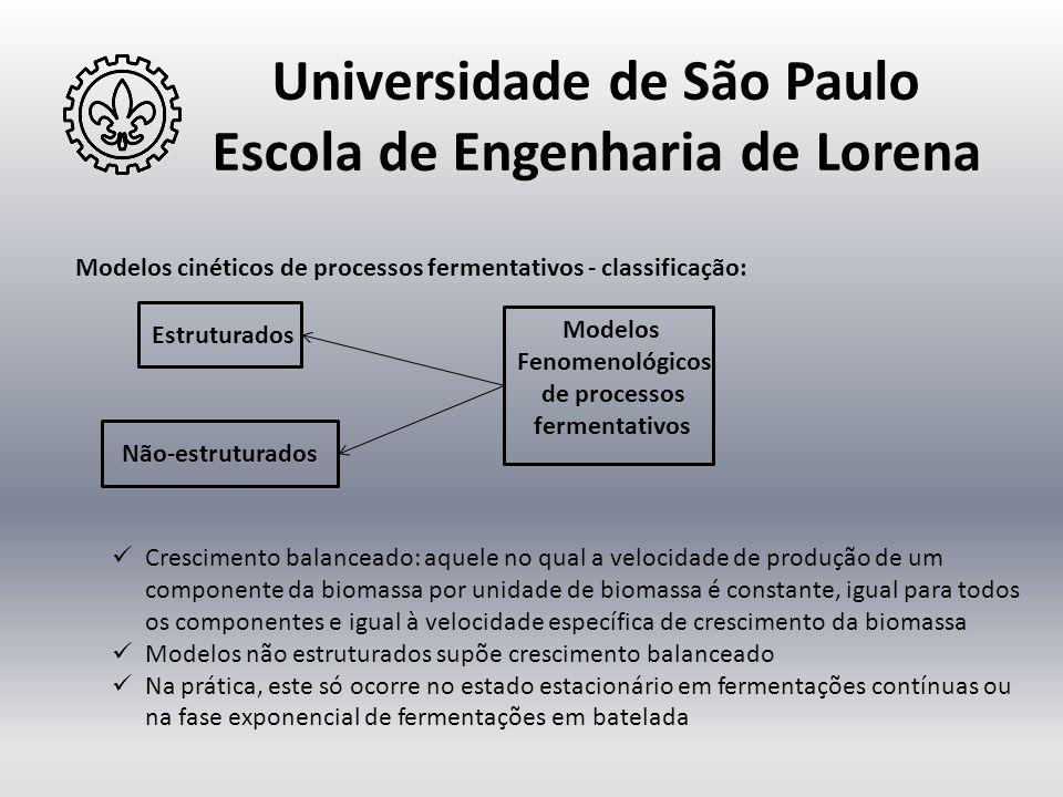 Universidade de São Paulo Escola de Engenharia de Lorena Modelos cinéticos de processos fermentativos - classificação: Modelos Fenomenológicos de proc