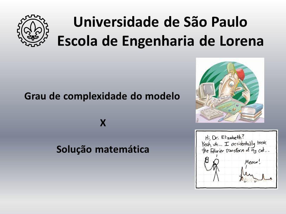 Universidade de São Paulo Escola de Engenharia de Lorena Grau de complexidade do modelo X Solução matemática