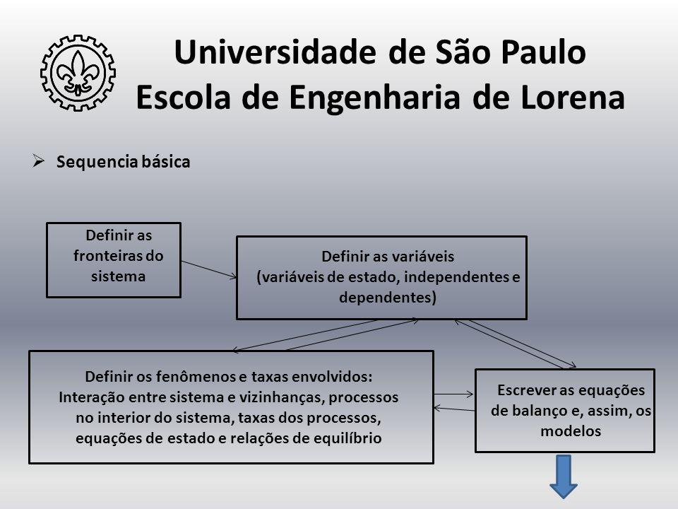 Universidade de São Paulo Escola de Engenharia de Lorena  Sequencia básica Definir as fronteiras do sistema Definir as variáveis (variáveis de estado