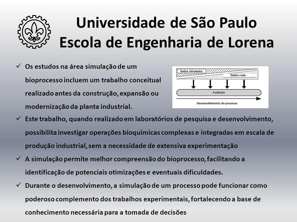 Universidade de São Paulo Escola de Engenharia de Lorena  Os estudos na área simulação de um bioprocesso incluem um trabalho conceitual realizado ant