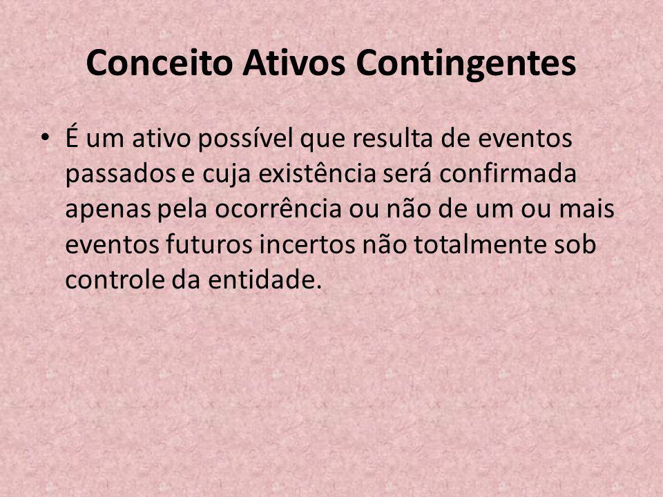 Conceito Ativos Contingentes • É um ativo possível que resulta de eventos passados e cuja existência será confirmada apenas pela ocorrência ou não de