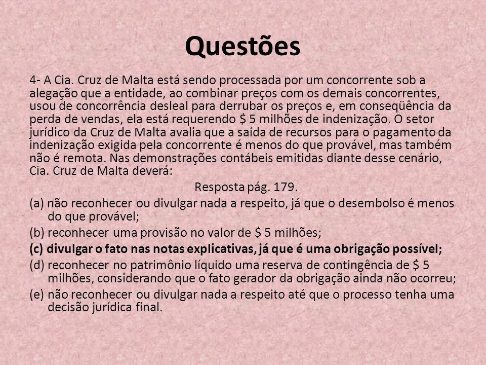Questões 4- A Cia. Cruz de Malta está sendo processada por um concorrente sob a alegação que a entidade, ao combinar preços com os demais concorrentes