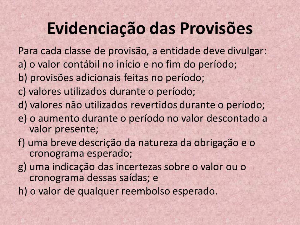 Evidenciação das Provisões Para cada classe de provisão, a entidade deve divulgar: a) o valor contábil no início e no fim do período; b) provisões adi