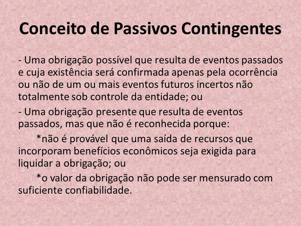 Conceito de Passivos Contingentes - Uma obrigação possível que resulta de eventos passados e cuja existência será confirmada apenas pela ocorrência ou