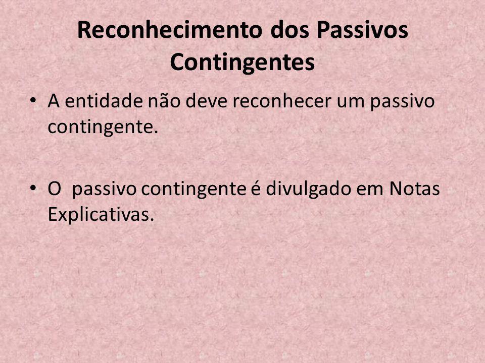 Reconhecimento dos Passivos Contingentes • A entidade não deve reconhecer um passivo contingente. • O passivo contingente é divulgado em Notas Explica