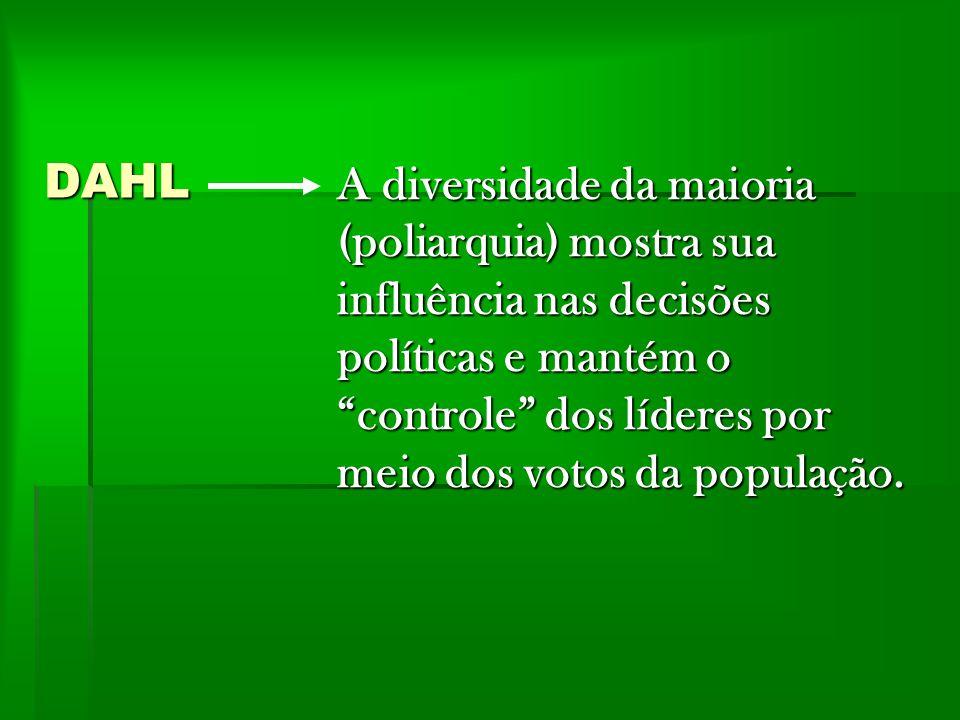 SARTORI Utiliza também a noção de poliarquia, ressaltando o governo das elites em competição.