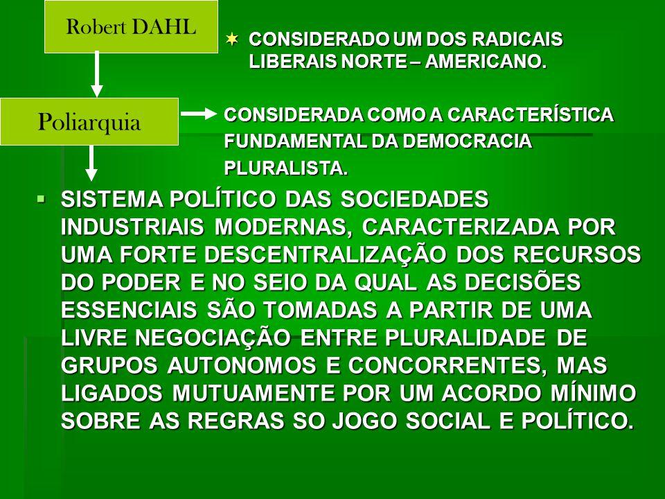  SISTEMA POLÍTICO DAS SOCIEDADES INDUSTRIAIS MODERNAS, CARACTERIZADA POR UMA FORTE DESCENTRALIZAÇÃO DOS RECURSOS DO PODER E NO SEIO DA QUAL AS DECISÕES ESSENCIAIS SÃO TOMADAS A PARTIR DE UMA LIVRE NEGOCIAÇÃO ENTRE PLURALIDADE DE GRUPOS AUTONOMOS E CONCORRENTES, MAS LIGADOS MUTUAMENTE POR UM ACORDO MÍNIMO SOBRE AS REGRAS SO JOGO SOCIAL E POLÍTICO.