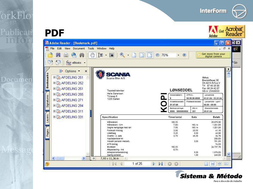 Criar arquivos PDF Use Bookmarks Novo módulo: Security - Senha e/ou Criptografado Estrutura Dinâmica Fontes locais (do Windows) PDF