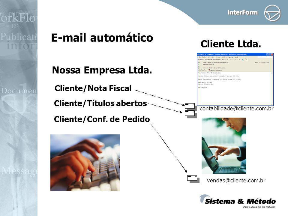 E-mail automático Nossa Empresa Ltda. Cliente Ltda. Cliente/Nota Fiscal contabilidade@cliente.com.br Cliente/Títulos abertos Cliente/Conf. de Pedido v