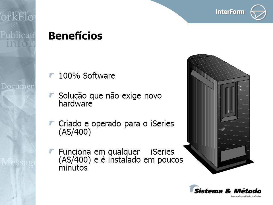 Benefícios 100% Software Solução que não exige novo hardware Criado e operado para o iSeries (AS/400) Funciona em qualquer iSeries (AS/400) e é instalado em poucos minutos
