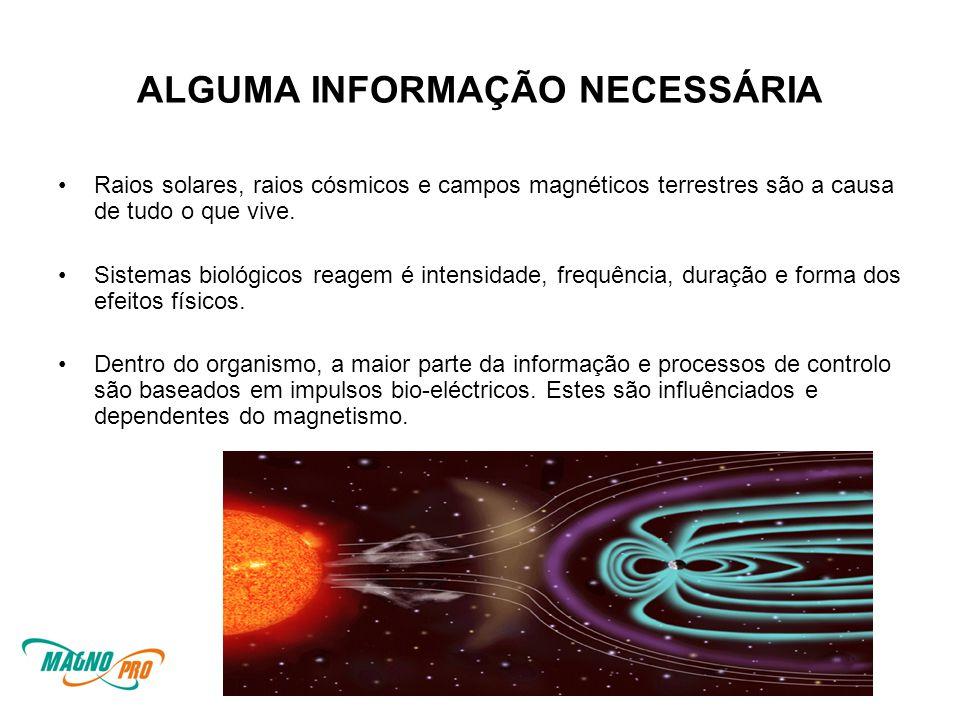 ALGUMA INFORMAÇÃO NECESSÁRIA •Raios solares, raios cósmicos e campos magnéticos terrestres são a causa de tudo o que vive.