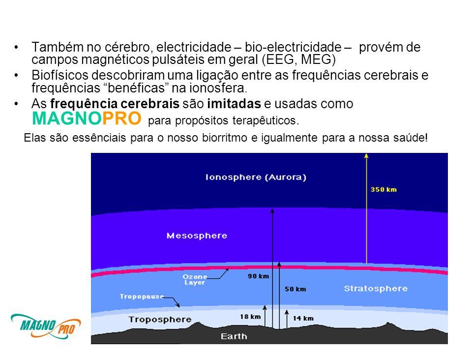 •Também no cérebro, electricidade – bio-electricidade – provém de campos magnéticos pulsáteis em geral (EEG, MEG) •Biofísicos descobriram uma ligação entre as frequências cerebrais e frequências benéficas na ionosfera.