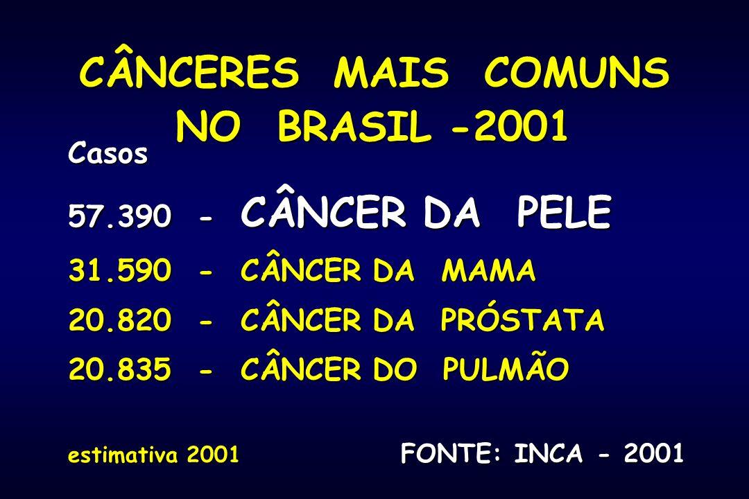 CÂNCERES MAIS COMUNS NO BRASIL -2001 Casos 57.390 - CÂNCER DA PELE 31.590 - CÂNCER DA MAMA 20.820 - CÂNCER DA PRÓSTATA 20.835 - CÂNCER DO PULMÃO estim