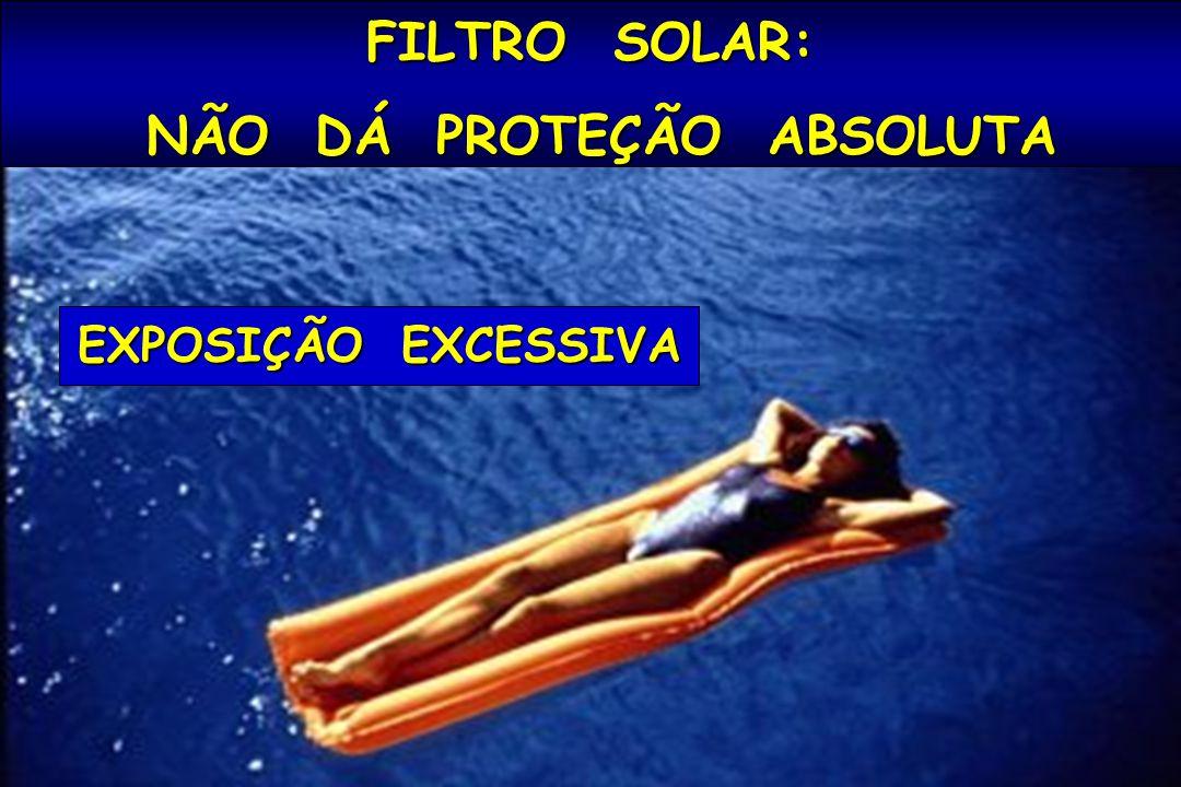 FILTRO SOLAR: NÃO DÁ PROTEÇÃO ABSOLUTA NÃO DÁ PROTEÇÃO ABSOLUTA EXPOSIÇÃO EXCESSIVA