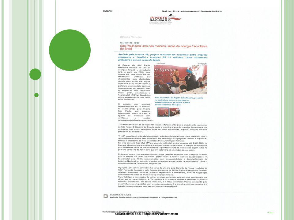 Confidential and Proprietary Information C ONSIDERAÇÕES 14