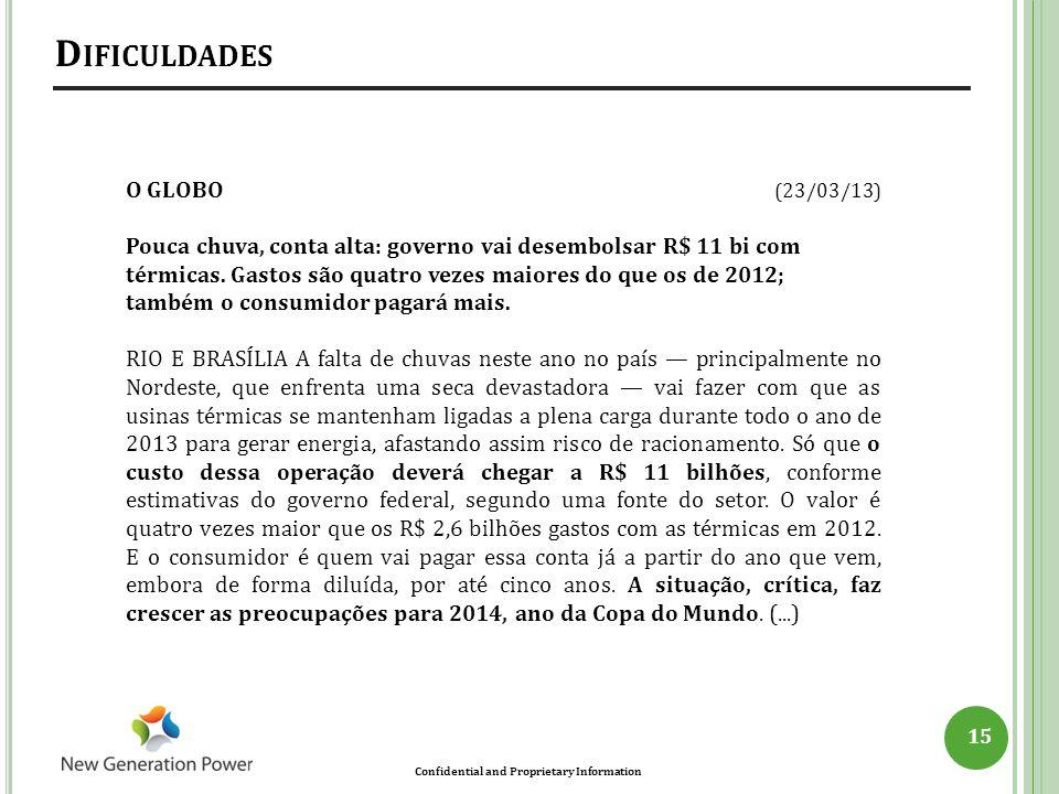 Confidential and Proprietary Information D IFICULDADES 15 O GLOBO (23/03/13) Pouca chuva, conta alta: governo vai desembolsar R$ 11 bi com térmicas. G
