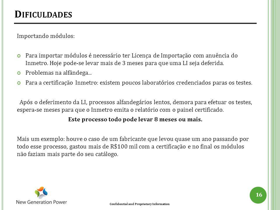 Confidential and Proprietary Information Importando módulos: Para importar módulos é necessário ter Licença de Importação com anuência do Inmetro. Hoj