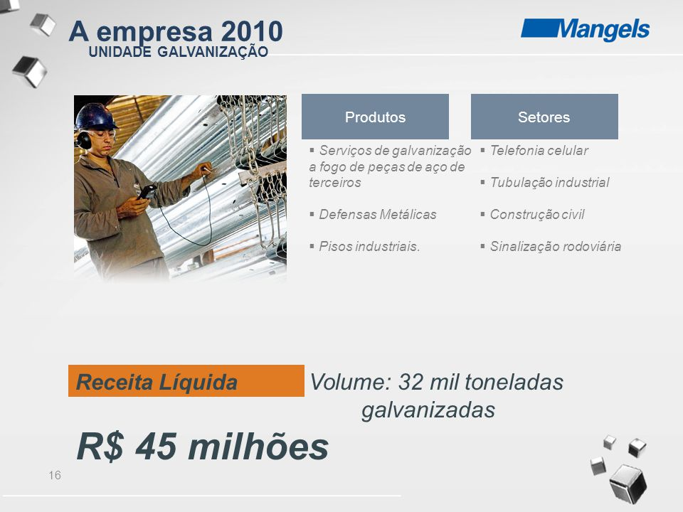 16 UNIDADE GALVANIZAÇÃO Receita Líquida Volume: 32 mil toneladas galvanizadas R$ 45 milhões Produtos  Serviços de galvanização a fogo de peças de aço