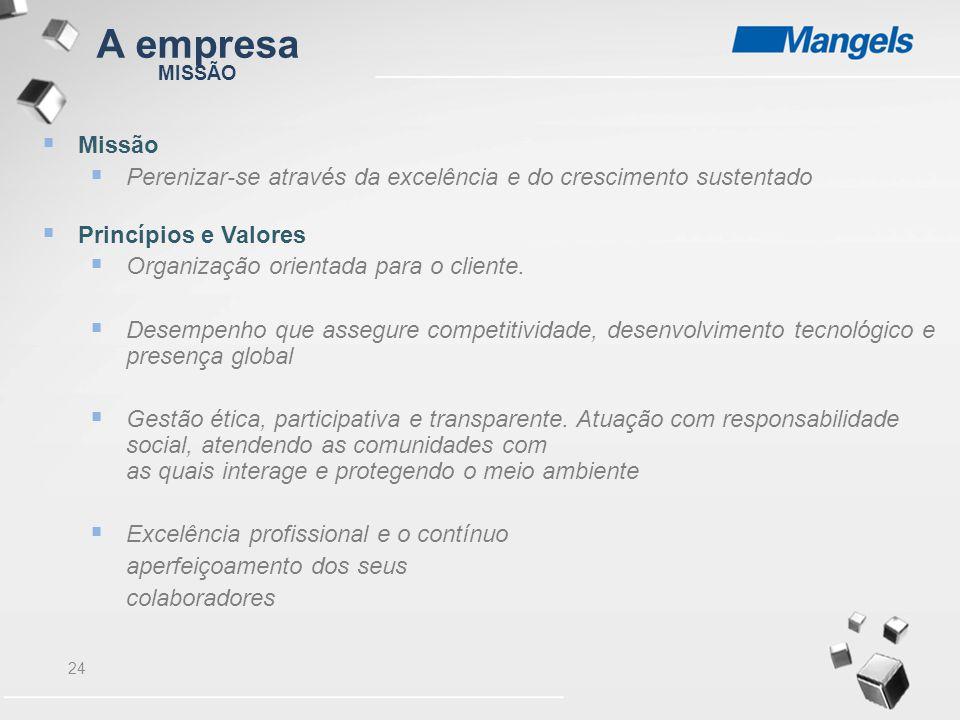 24 MISSÃO  Missão  Perenizar-se através da excelência e do crescimento sustentado  Princípios e Valores  Organização orientada para o cliente.  D