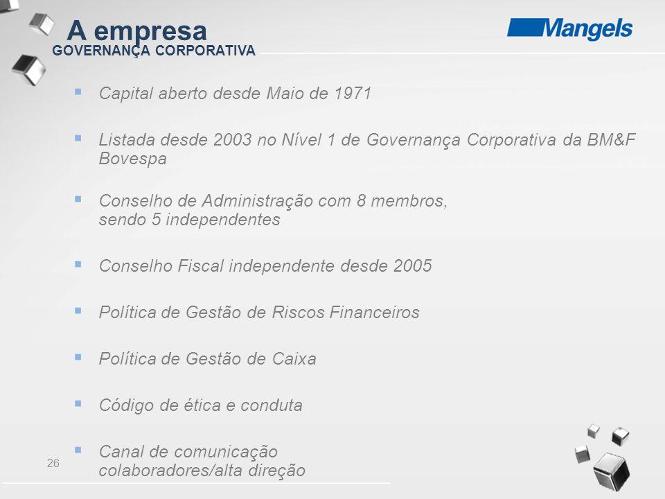 26 GOVERNANÇA CORPORATIVA  Capital aberto desde Maio de 1971  Listada desde 2003 no Nível 1 de Governança Corporativa da BM&F Bovespa  Conselho de