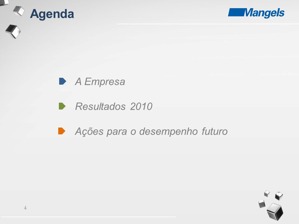 4 Agenda A Empresa Resultados 2010 Ações para o desempenho futuro
