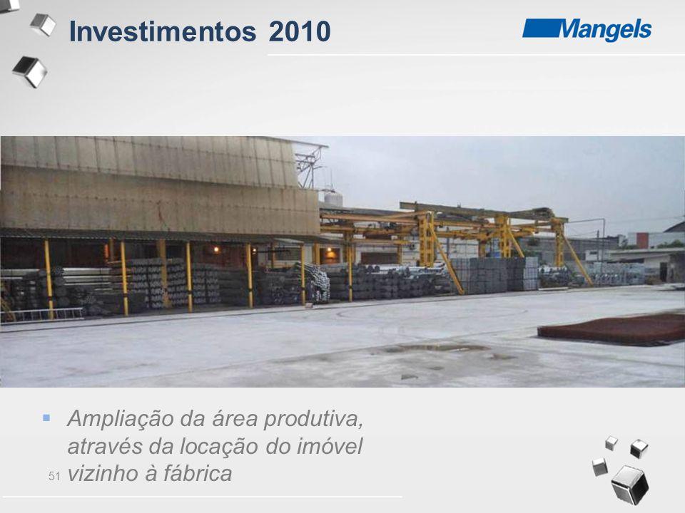51  Ampliação da área produtiva, através da locação do imóvel vizinho à fábrica Investimentos 2010