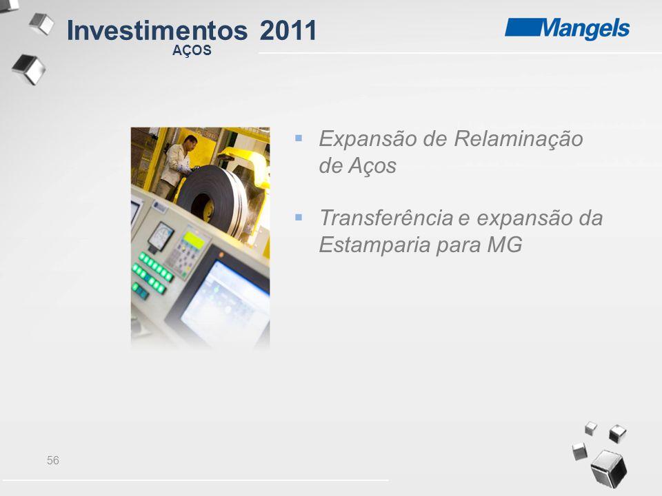 56  Expansão de Relaminação de Aços  Transferência e expansão da Estamparia para MG AÇOS Investimentos 2011
