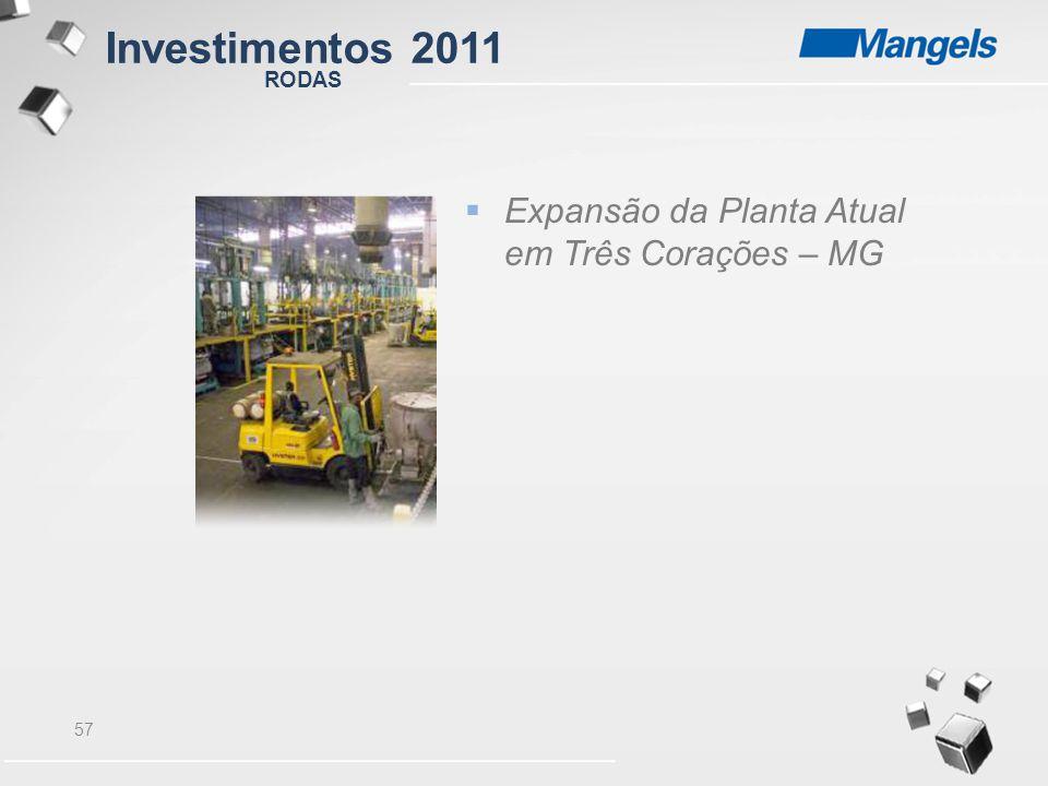 57  Expansão da Planta Atual em Três Corações – MG RODAS Investimentos 2011