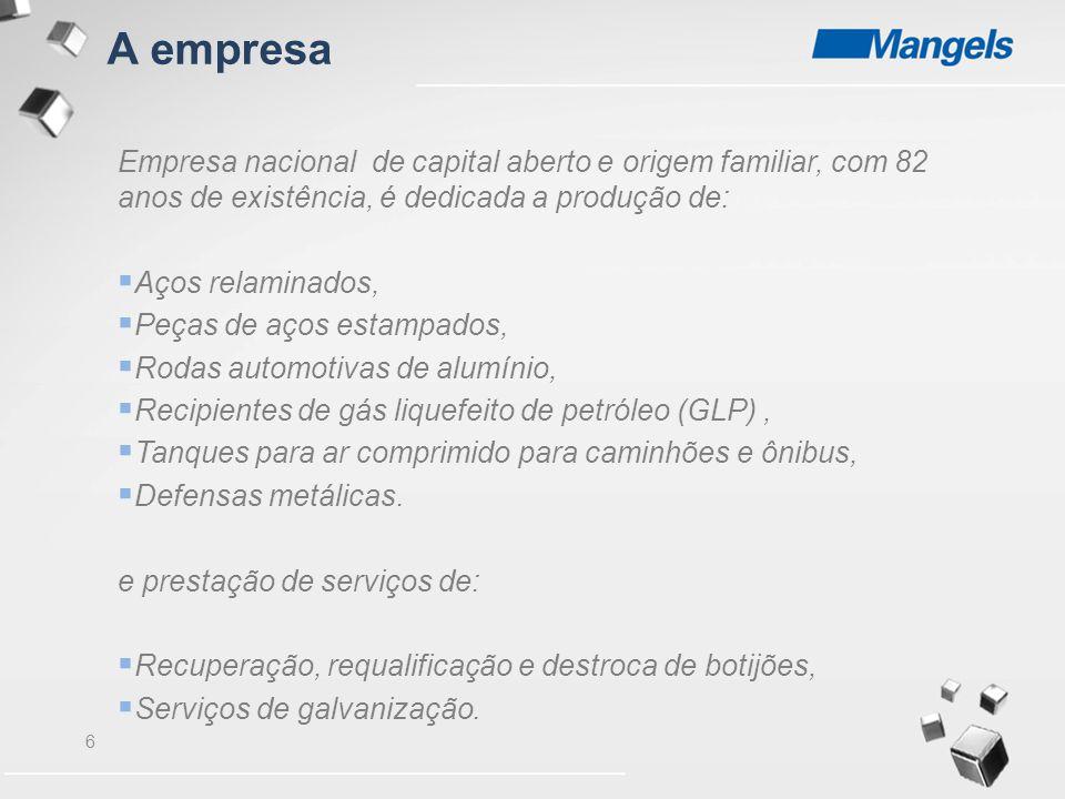 7 A Empresa conta com :  Unidades fabris localizadas em São Bernardo do Campo (SP), Três Corações (MG), Guarulhos (SP) e Manaus(AM);  Oficinas de Requalificação de Botijões localizadas em Três Corações (MG), Araucária (PR), Paulínia (SP), Recife (PE), Canoas (RS); Aparecida de Goiânia (GO);  Centro de Destroca de Botijões localizado em Araucária (PR);  3.050 colaboradores.