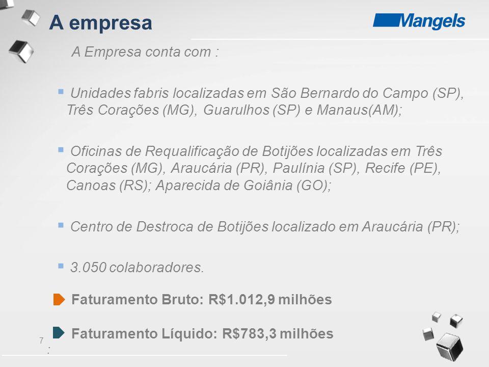 7 A Empresa conta com :  Unidades fabris localizadas em São Bernardo do Campo (SP), Três Corações (MG), Guarulhos (SP) e Manaus(AM);  Oficinas de Re