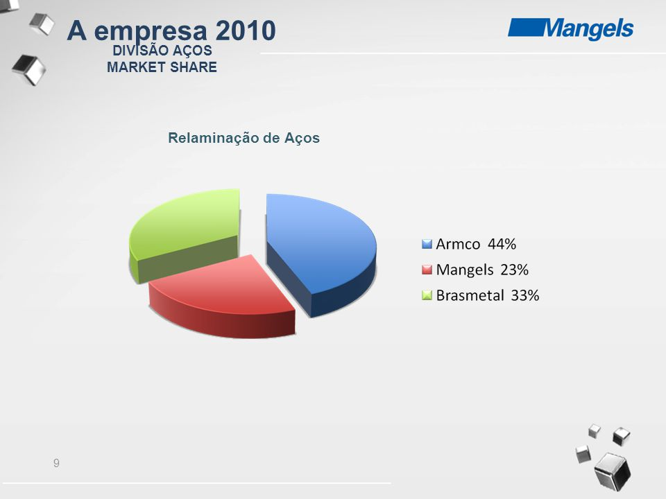 10 DIVISÃO AÇOS MARKET SHARE Centro de Serviços de Aços A empresa 2010