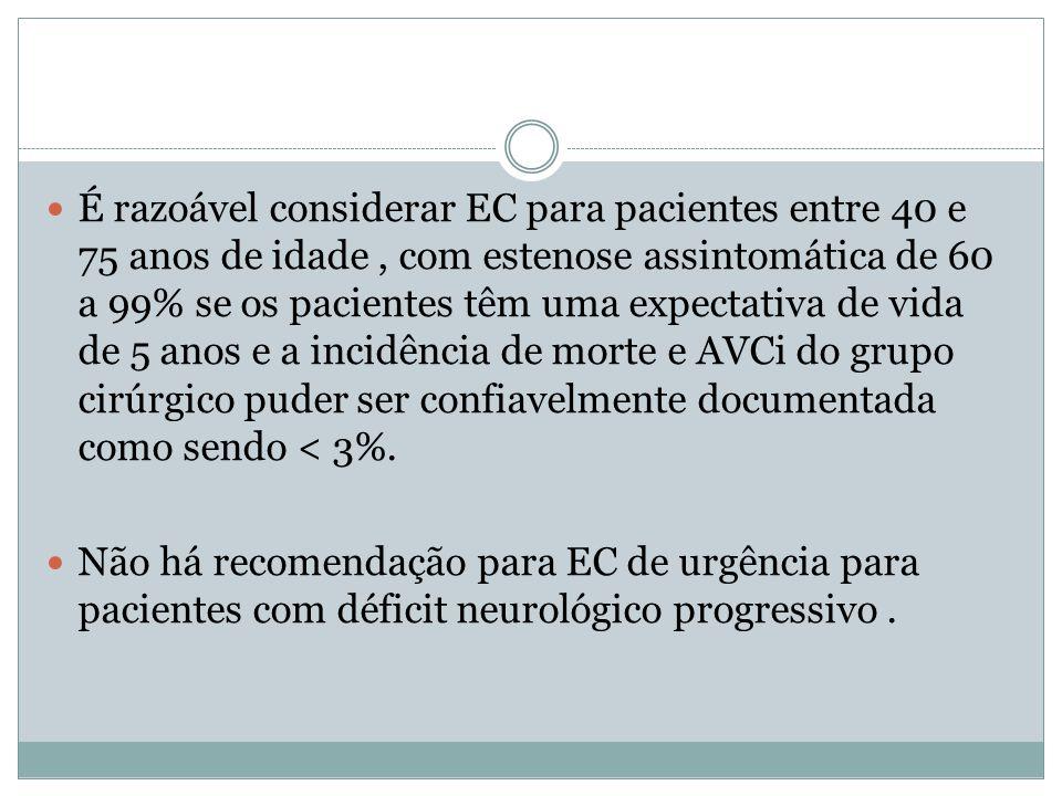  É razoável considerar EC para pacientes entre 40 e 75 anos de idade, com estenose assintomática de 60 a 99% se os pacientes têm uma expectativa de v